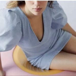 Zara light blue denim mini dress puff sleeves NWT